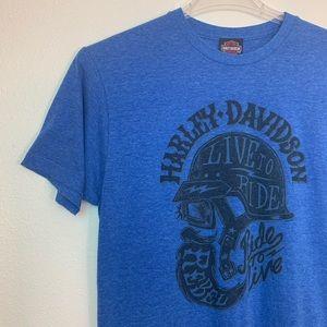 Harley-Davidson Blue Short Sleeve T-Shirt Sz M. K